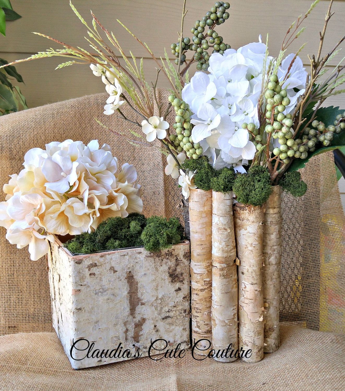 Birch Bark Vases, Wood Boxes, Pot Planter, Rustic Baskets