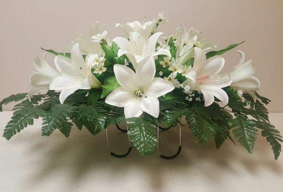 White Easter Lily Silk Flower Arrangement Cemetery Saddle Flowers