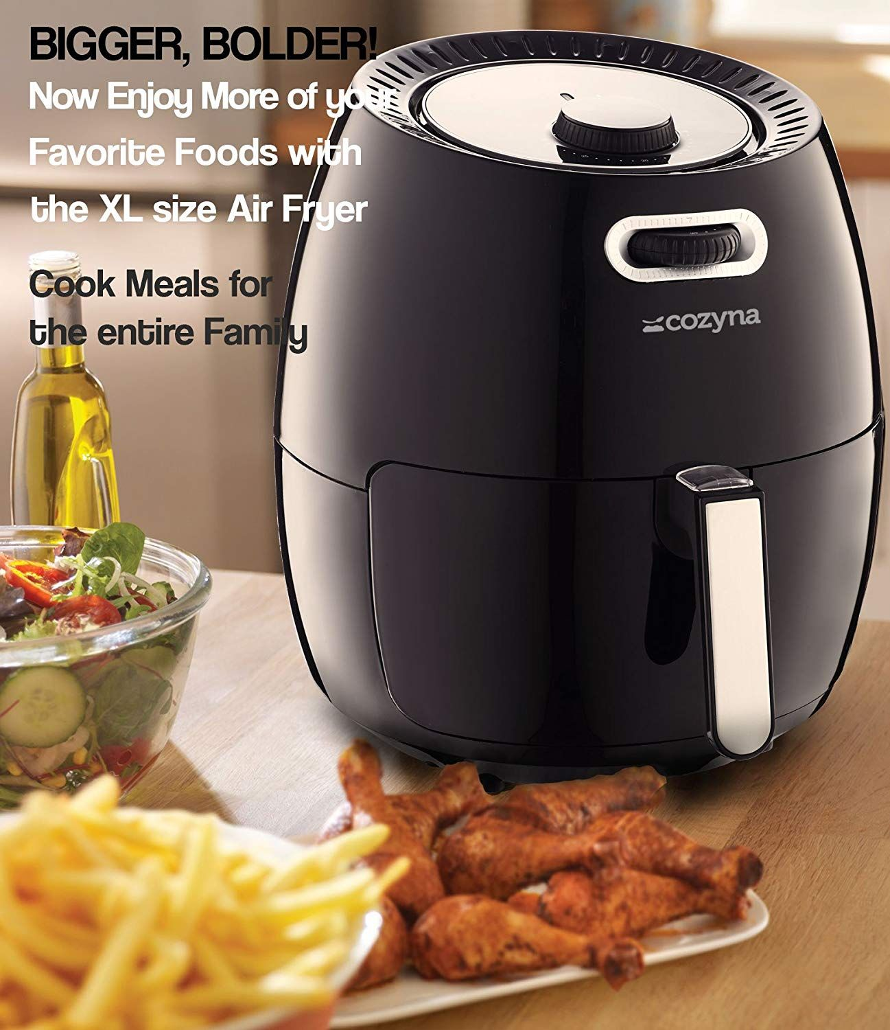 Air Fryer XL by Cozyna (5.8QT) with airfryer cookbook