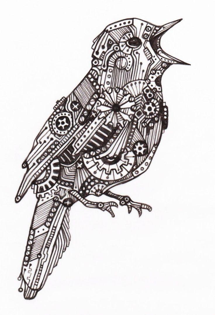 Mechanical Bird 4 By Vengeancekitty Deviantart Com động Vật Hinh Vẽ Hoa Hoa