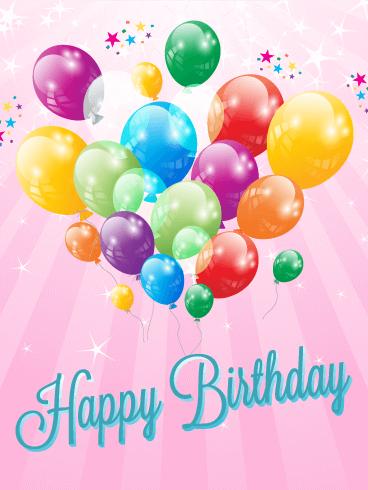 Note Card Birthday Balloons Happy Birthday Balloons Celebrate Birthday Card Happy Birthday To You Card