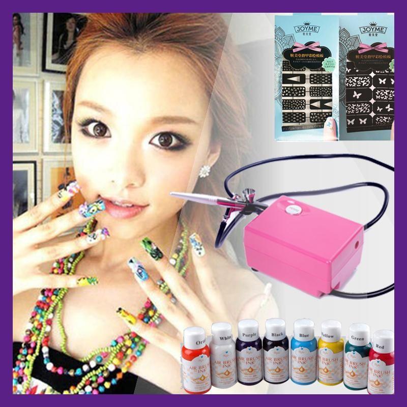 Air brush compressor airbrush nail art kit aerograph paint