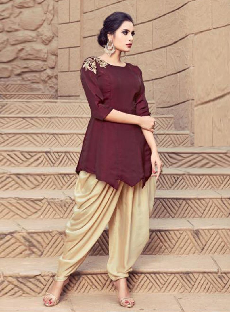 036cac3956 Buy Maroon Satin Dhoti Salwar Suit 148886 online at lowest price from huge  collection of salwar kameez at Indianclothstore.com.