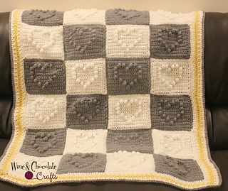 Lovely Hearts Blanket CROCHET PATTERN #crochet #pattern #blanket #heart