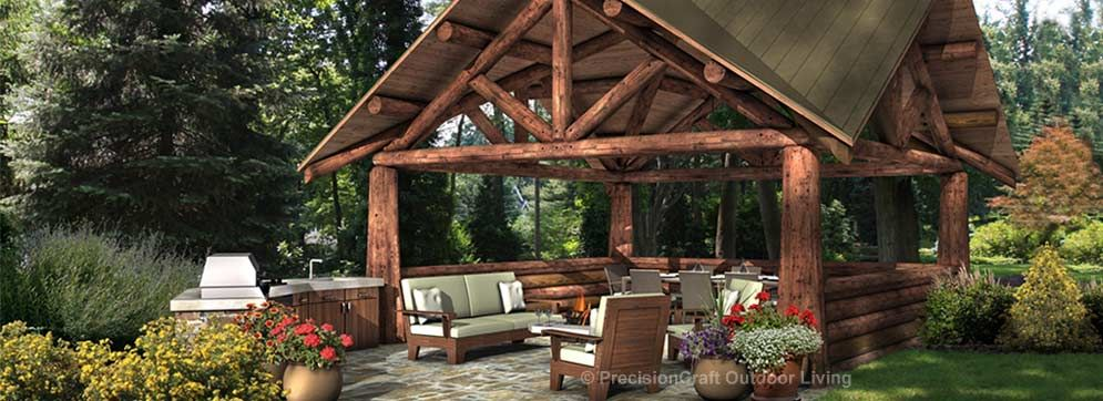 Outdoor Room Plans cedar log pavilion plans | outdoor plans photo gallery custom