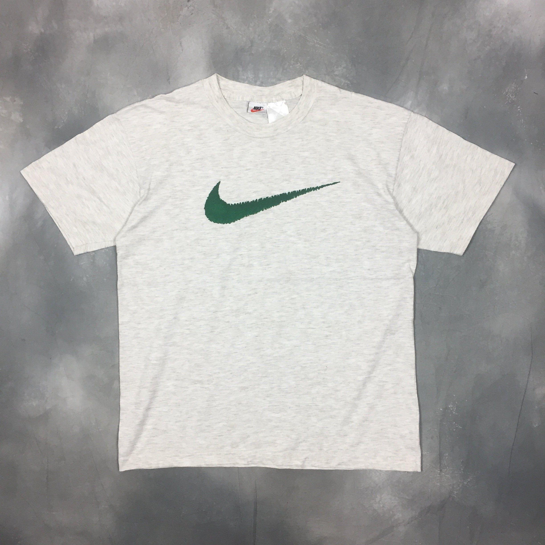 90s Nike Swoosh T Shirt Vintage Nike Air Big Logo Large Beige White Nike T Shirt 90s Nike Swoosh Throwback Fashion White Nike T Shirt Vintage Nike White Nikes