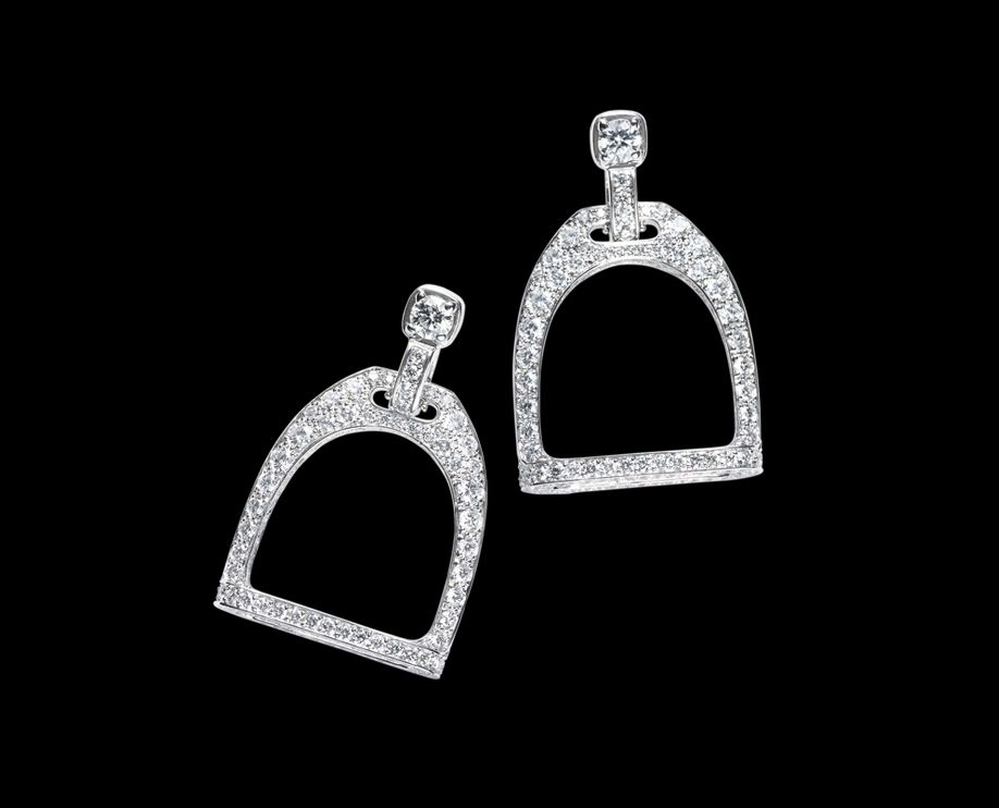 Ralph Lauren Equestrian Stirrup Earrings  18k white gold earrings with full-pave diamonds