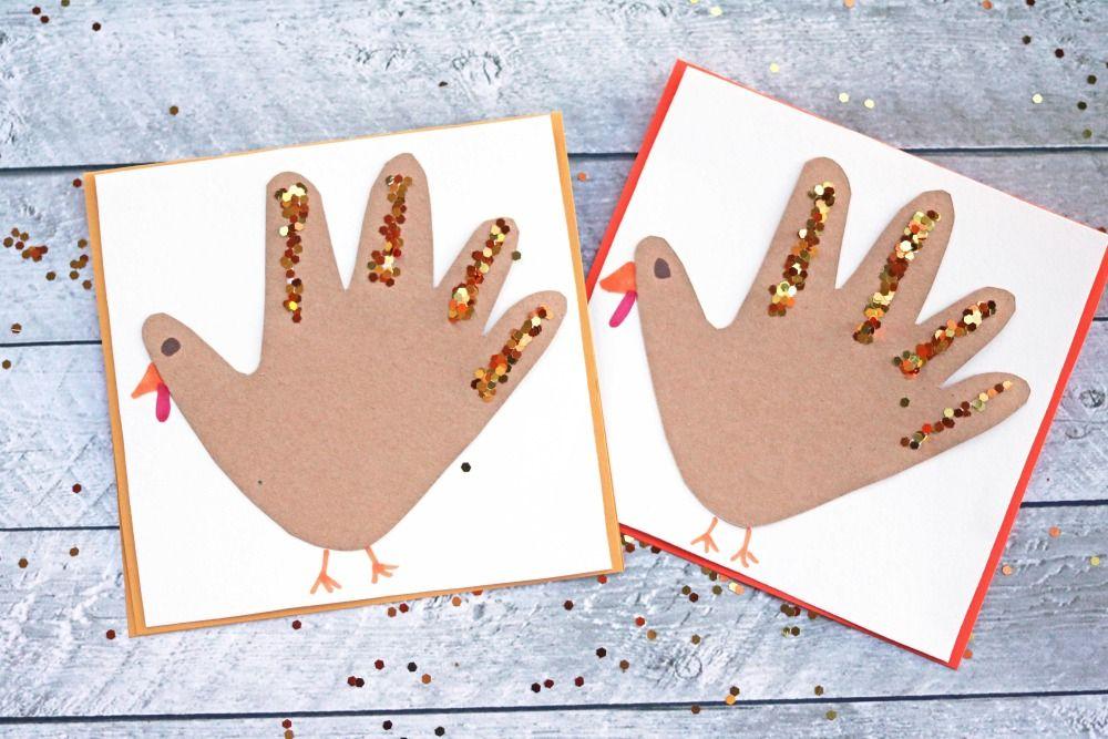 Handprint Turkey Cards Kids Craft #handprintturkey