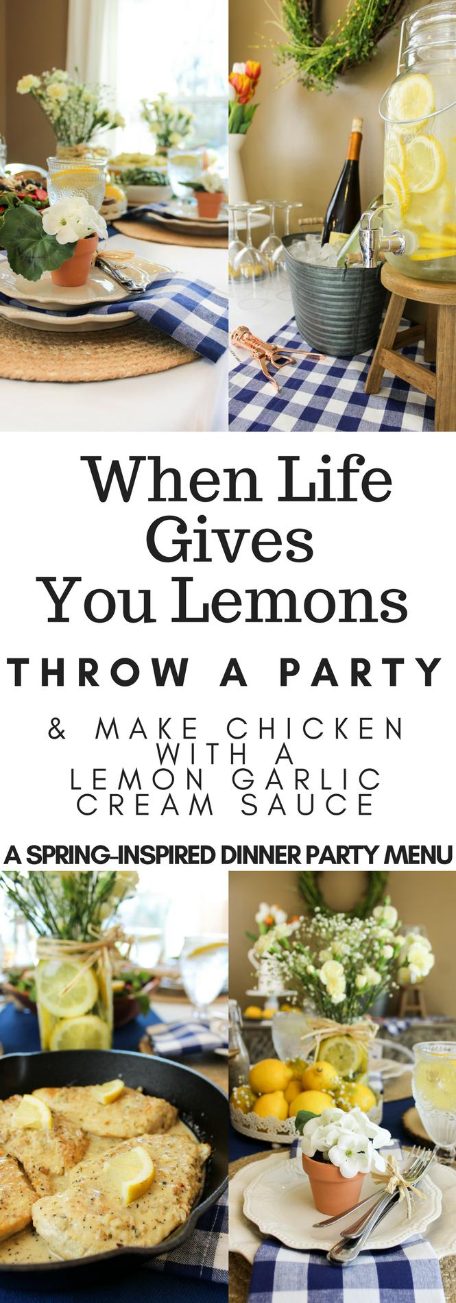 Garlic Chicken with Lemon Garlic Cream Sauce, #ad, #WhatAGoodThyme, Lemon Tablescape, Spring party tablescape, spring dinner menu, Thyme & Table @thymeandtable
