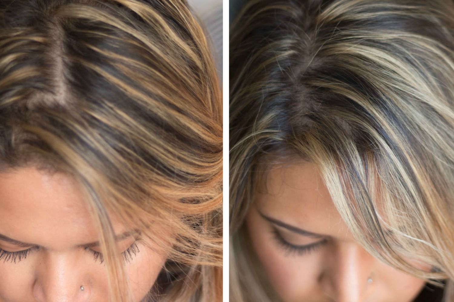How To Tone Brassy Hair At Home Wella T14 And Wella T18 Toner For Blonde Hair Brassy Blonde Hair Blonde Hair At Home
