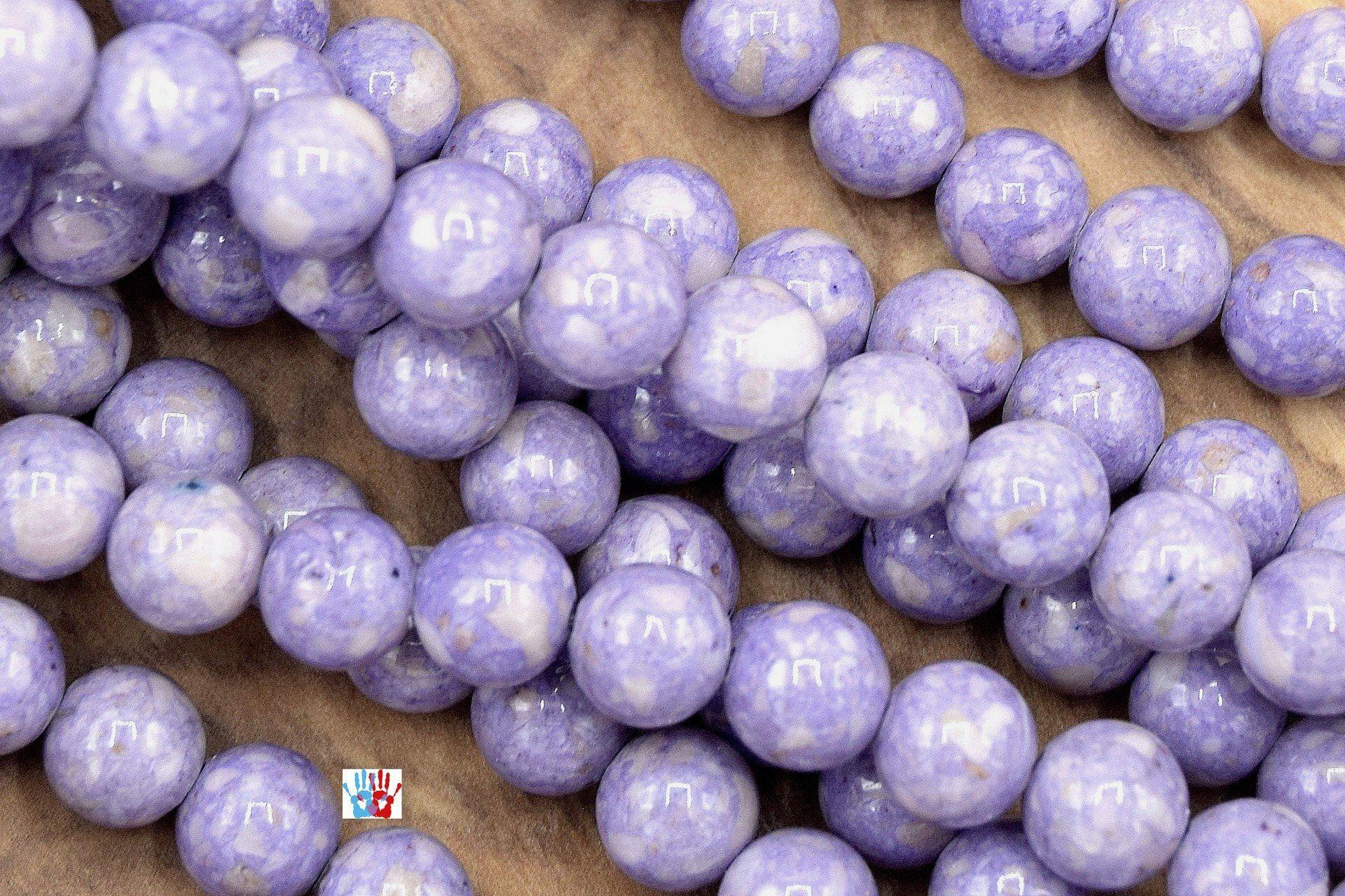 Lot de 20 perles rondes pierre HOWLITE TURQUOISE Ø 10 mm