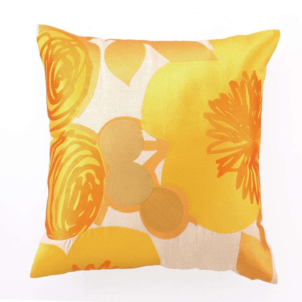Multi Floral Pillow In Yellow - add texture and pops of color  place ... 0bf94fd07f
