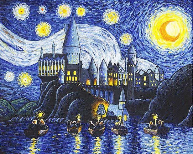 Art Print Harry Potter Hogwarts Starry Night Artwork Vincent Van ...