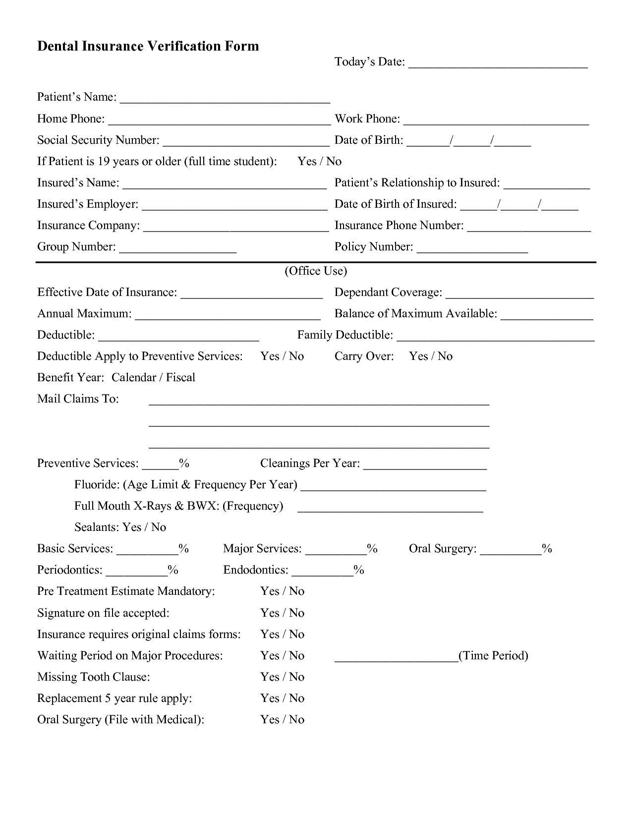 Dental Insurance Verification Forms Dental Insurance