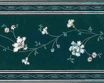 Dark Green Floral STENCIL Wallpaper Border VINTAGE AW3132B