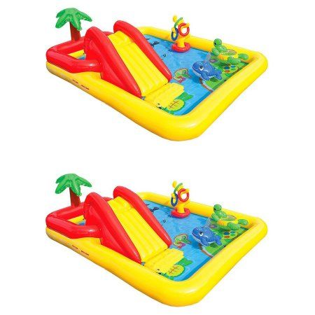 Intex 100 X 77 X 31 Inch Inflatable Play Center Swimming Pool Games 2 Pack Walmart Com Backyard For Kids Swimming Pool Games Swimming Pools Backyard