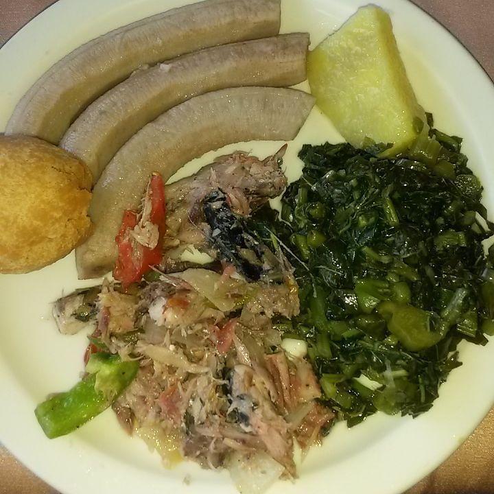breakfast jamaican style pickled mackerel steam calaloo