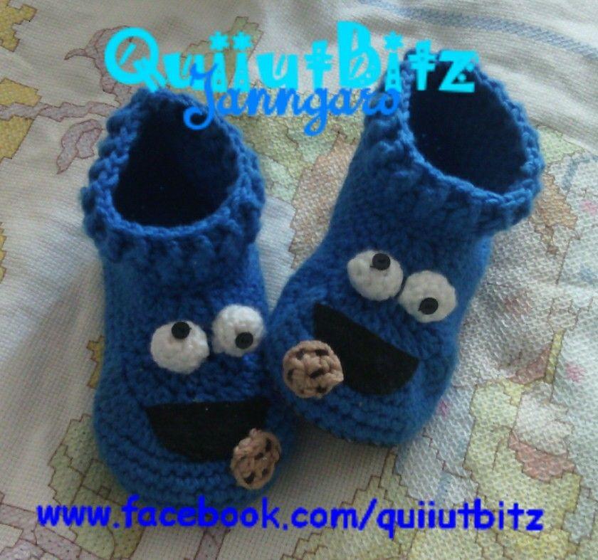 Pantuflas crochet monstruo come-galletas.  92257421df3