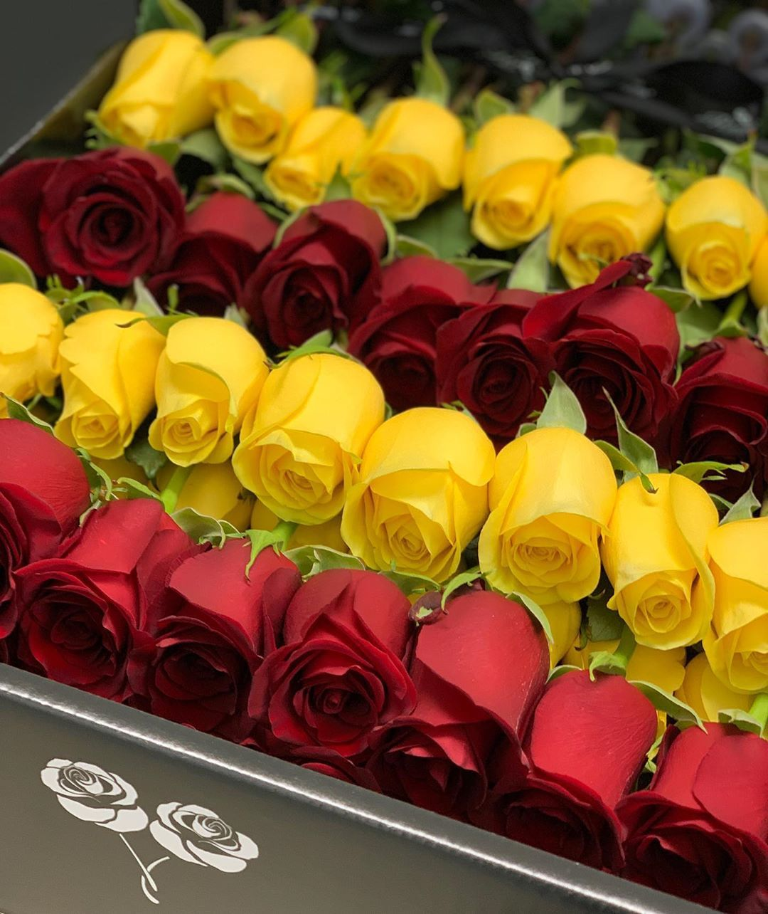 Bloom Luxury On Instagram Four Dozen Ways To Say I Love You Bloomluxury Redroses Yellowroses Originale Flowers Bouquet Gift Flower Box Gift Rose