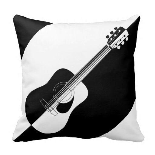 Modern Designer Black And White Guitar Throw Pillow Zazzle Com Guitar Pillows Guitar Throw Pillows Throw Pillows