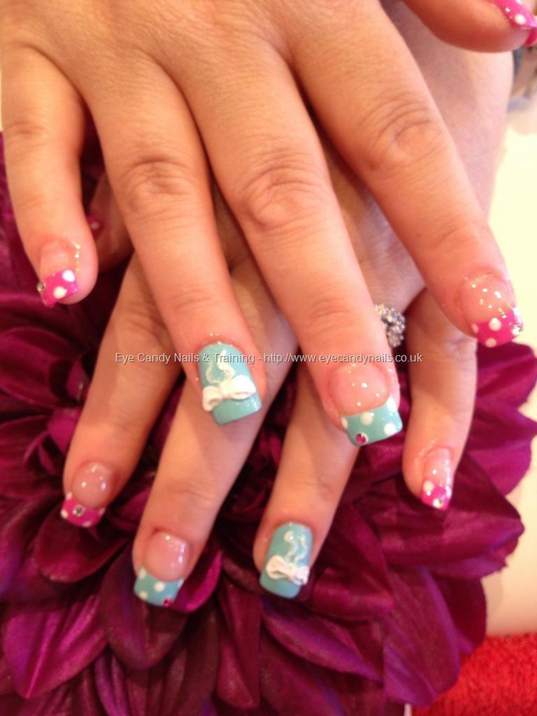Freehand polka dot nail art with 3D acrylic bows | ♡Nails & Nail ...