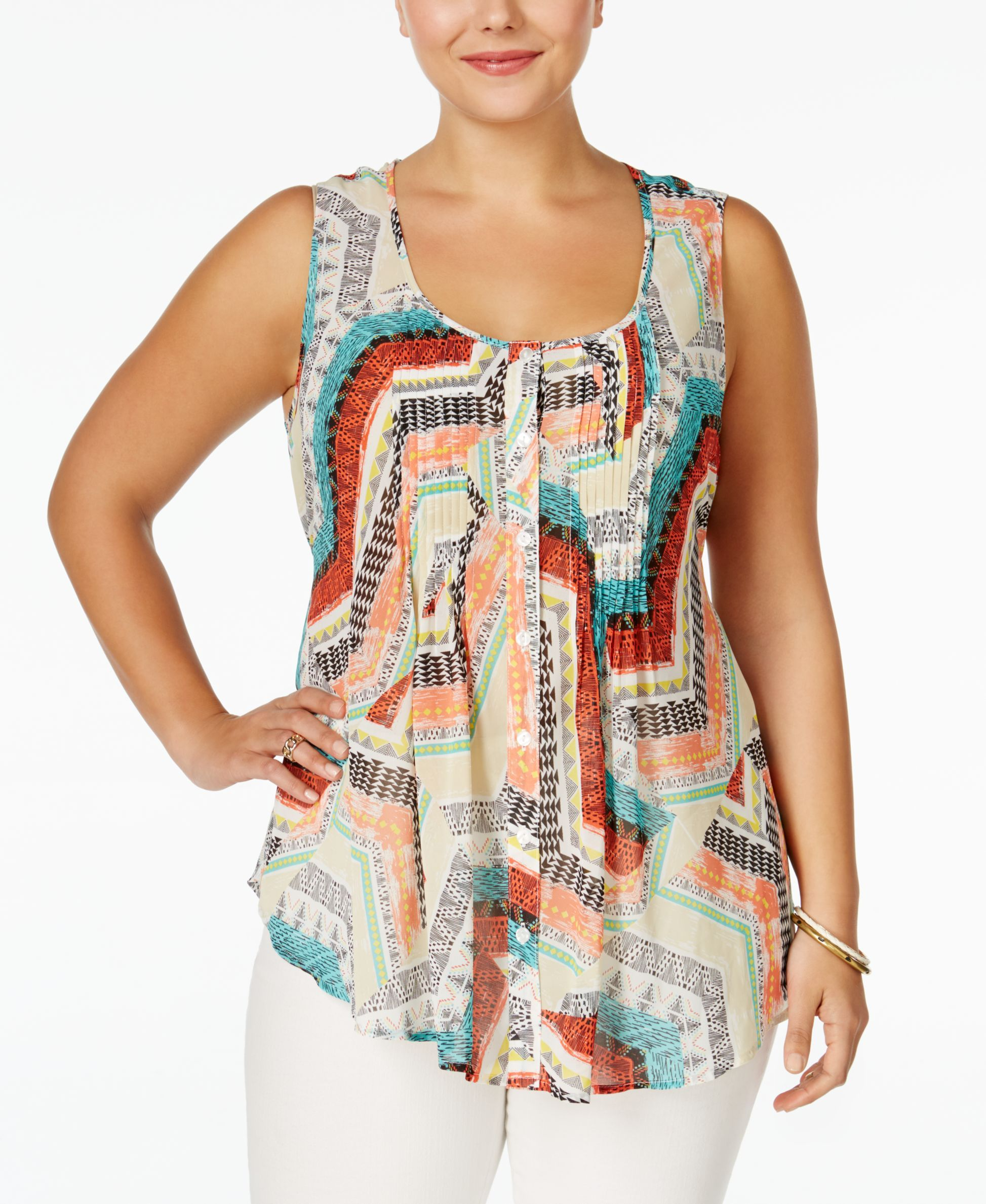 American Rag Plus Size Sleeveless Printed Blouse, Only at Macy's