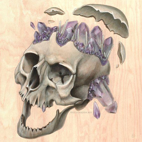 Amethyst Skull PRINT by skullgardenshop on Etsy