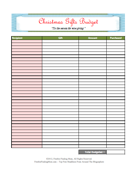 Christmas Gifts Budget Other Budgeting Tools