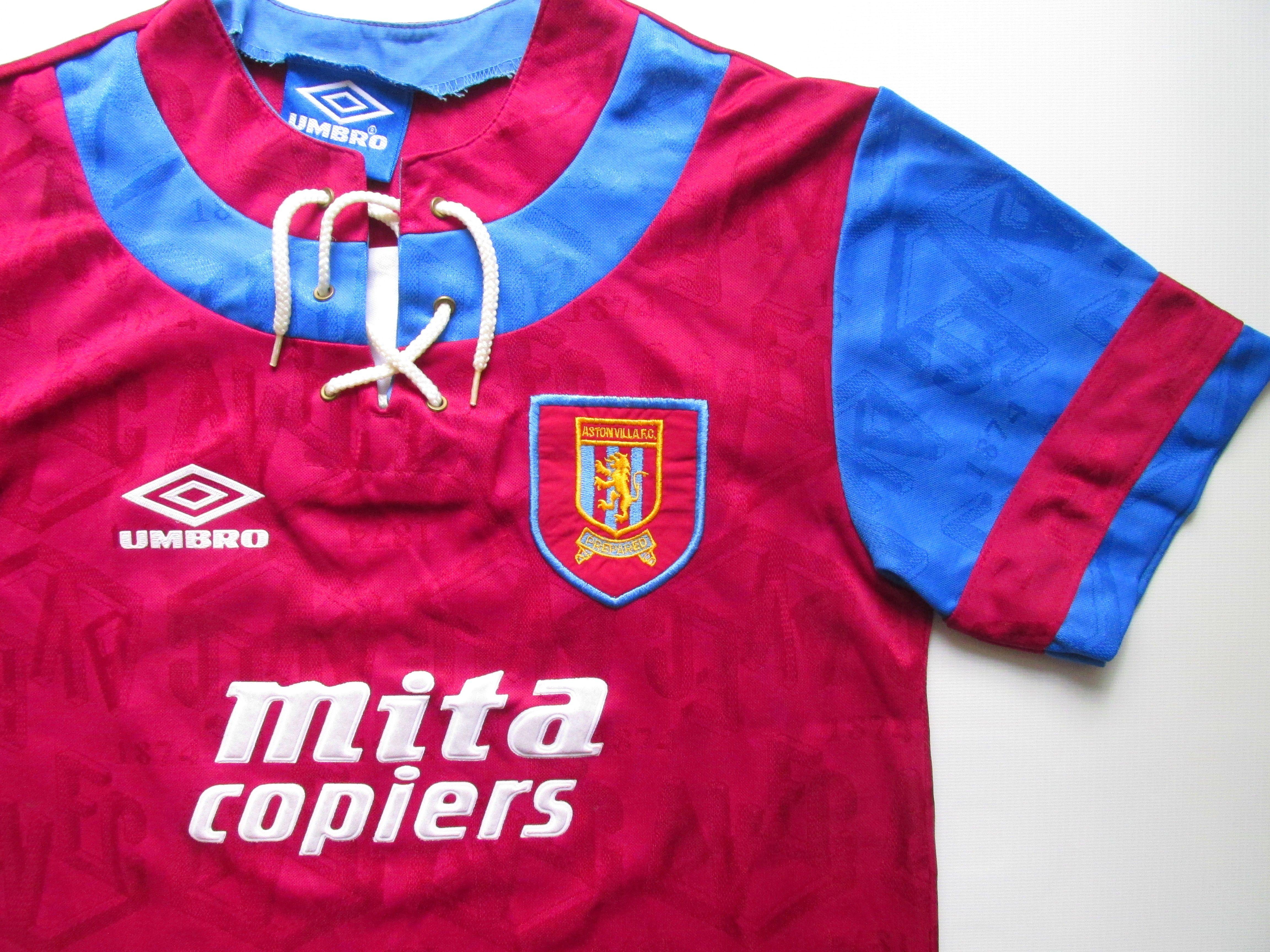 Aston Villa 1992 1993 Home Football Shirt By Umbro In 2020 Retro Football Shirts Football Shirts Sports Jersey Design