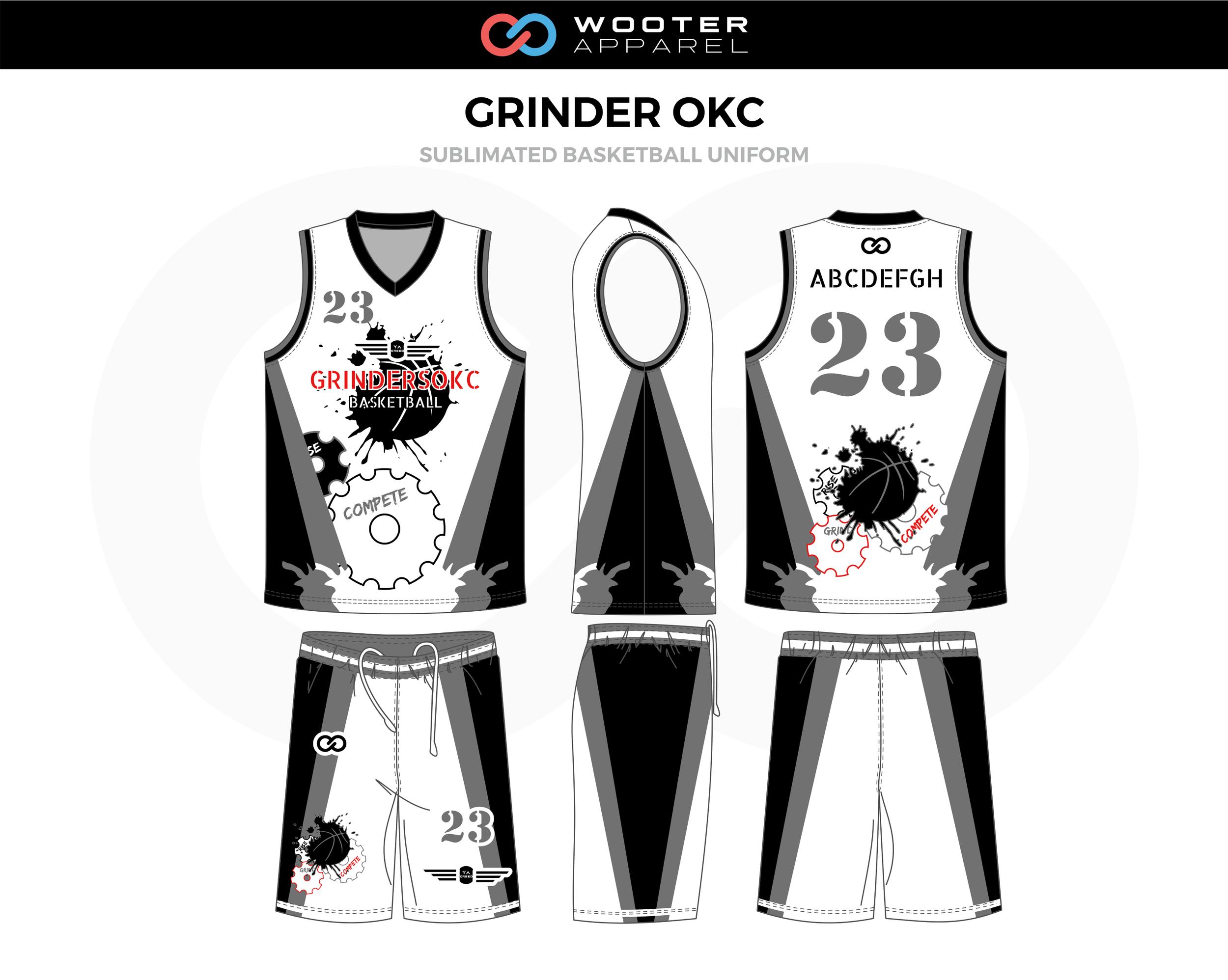 Grinder Okc White Red Black Grey Custom Basketball Uniform Jerseys Shorts Basketball Uniforms Design Custom Basketball Uniforms Jersey Design