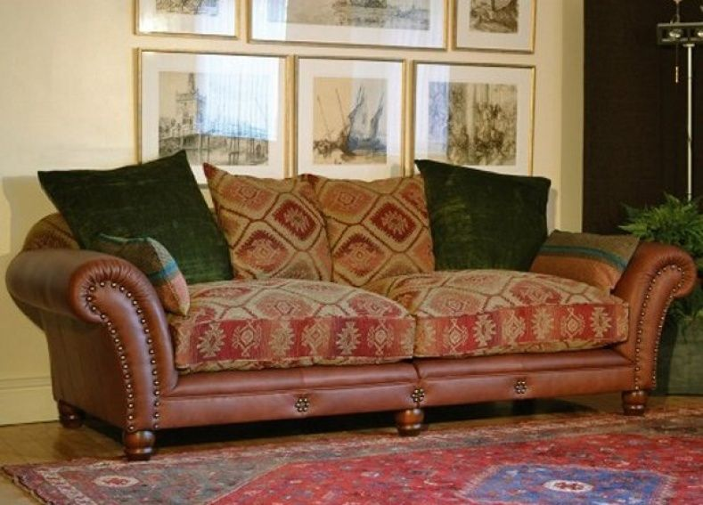 Leather And Tapestry Sofa With Images Cushions On Sofa Comfy Living Room Furniture Couch Fabric