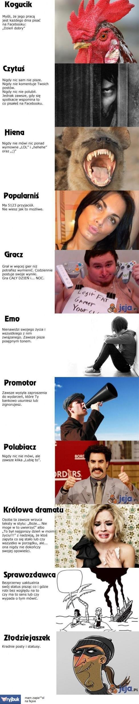 Typy użytkowników Facebooka po polsku