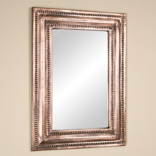 342 28 X 36 Rectangular Lightly Hammered Copper Mirror Antique Signature Hardware