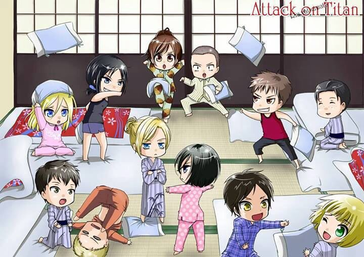 Attack On Titan Pillow Fight D Sasha And Connie Are Just Doing