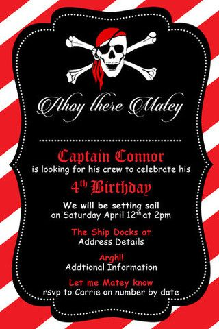 Pirate Birthday Digital Printable Invitation Template Me Matey