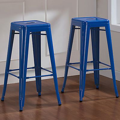 Details About Lch Set Of 2 Wooden Backless Bar Stools Metal