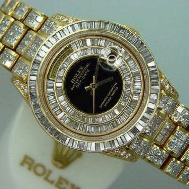Sari Altin Pirlanta Detayli Saat Modeli Kadin Saati Rolex Rolex Saatler