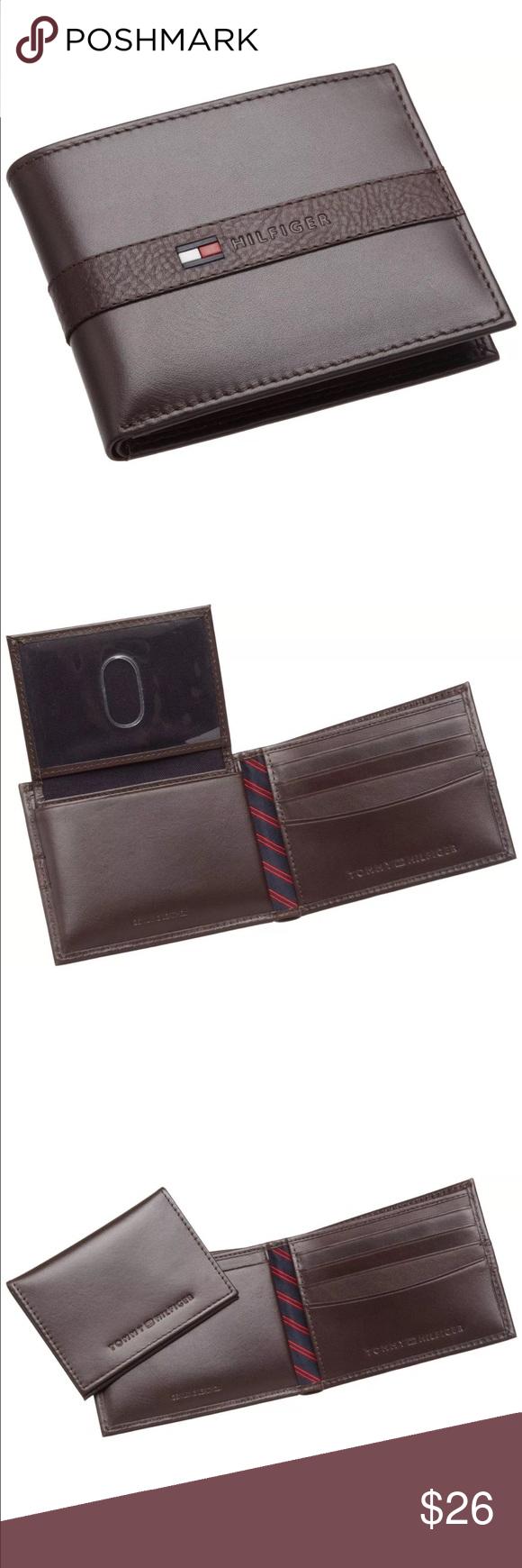 "New Tommy Hilfiger Men's Brown Leather Wallet New Tommy Hilfiger Men Wallet Color: Brown  Size: 4.2"" x 3.2"" 4 Credit Card Slots 1 Bill Slot Tommy Hilfiger Bags Wallets"