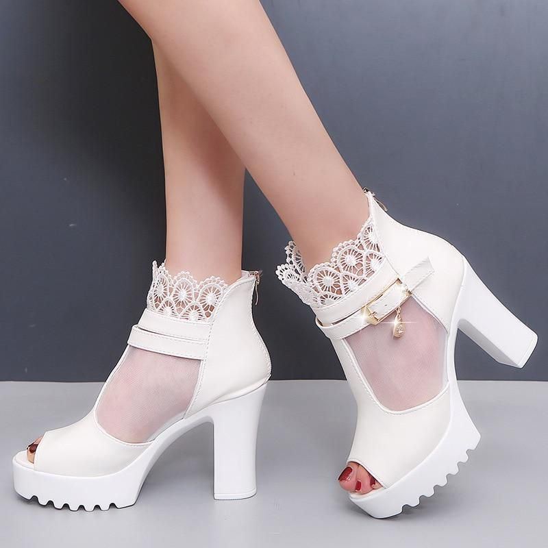 Women High Heel Sandals Round Toe Thick Heel Ankle Strap Shoes Woman Korean Party Footwear