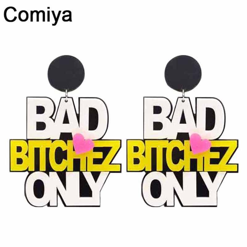Comiya punk di modo arcylic big lungo goccia orecchini per le donne 2017 all'ingrosso male solo lettera di fascino orecchino bijoux femme gioielli