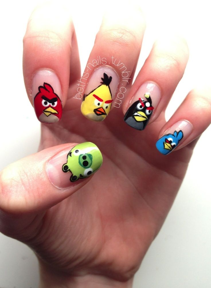 22 Images Angry Birds Nail Art Designs
