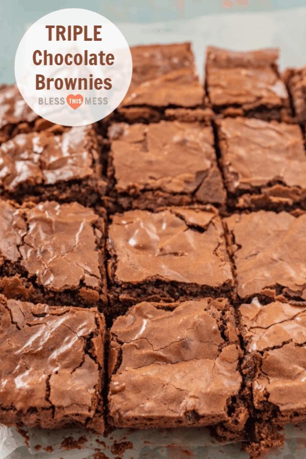 Homemade Triple Chocolate Brownies made with bittersweet chocolate, unsweetened chocolate, & cocoa