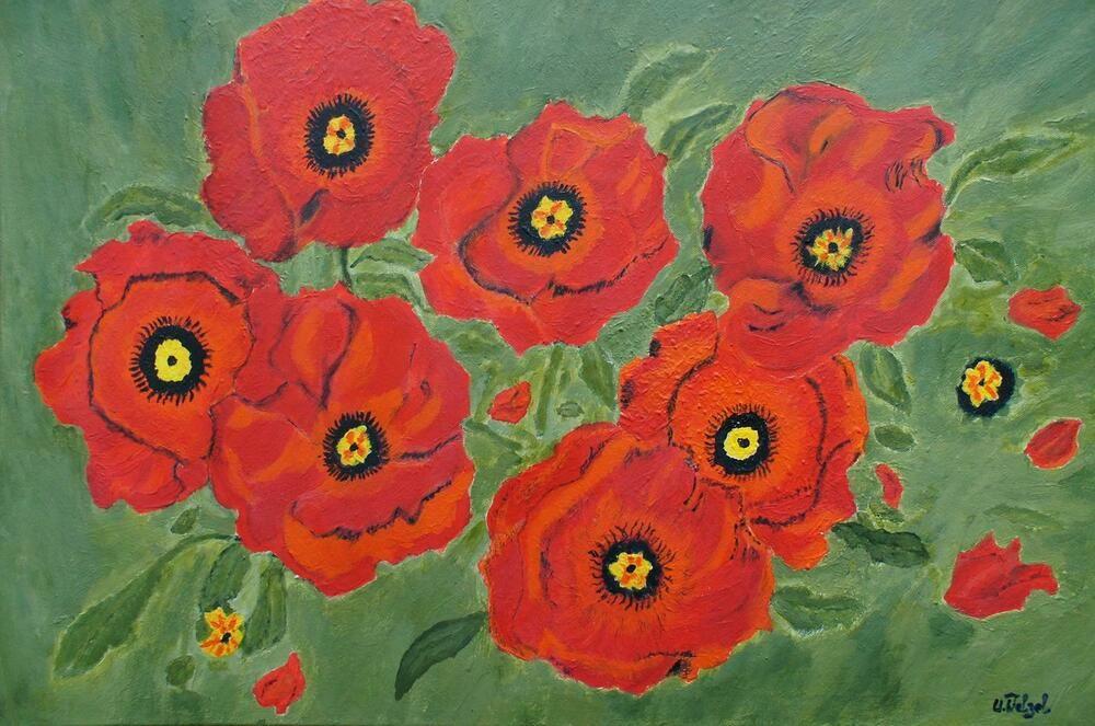Acryl Gemalde Stillleben Blumen Mohnblumen Leinwand 80x60 Cm Handgemalt Original Stillleben Blumen Stillleben Mohnblume