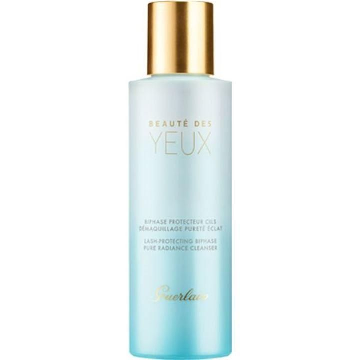 Guerlain Beauté des Yeux Biphase Eye Makeup Remover 125ml. This extremely fresh bi-phase cleansing oil, Beauté des Yeux from Guerlain, gently cleanses eyes that are sensitive due to wearing contact lenses. Beauté des Yeux offers instant comfort and an amazing feeling of cleanliness. Its beauty secret? A fortifying active ingredient that strengthens the lashes for eyes that are more beautiful with each passing day In vitro tests on ingredient. The exclusive signature fragrance developed for Beaut