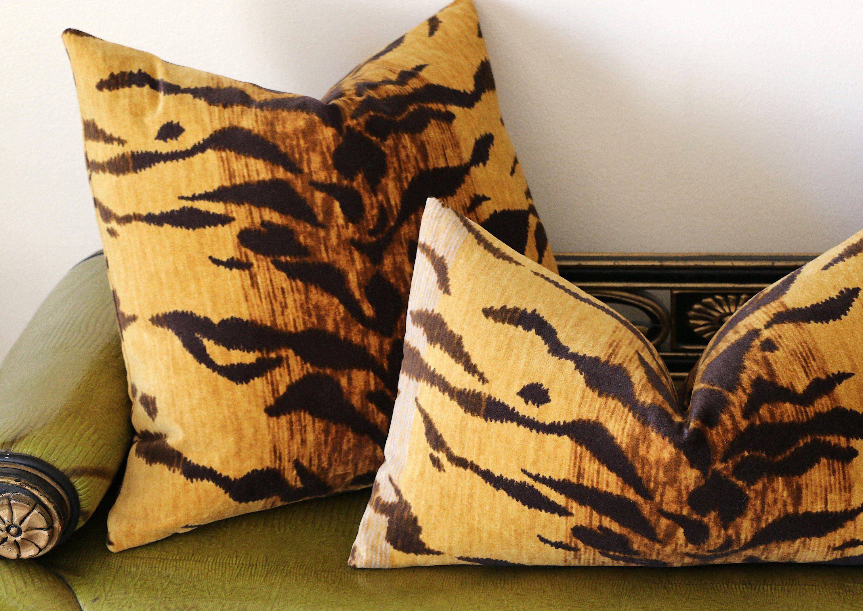 Velvet Tiger Cushion Cover / Velvet Leopard Pillow / Animal Print Pillow Cover / Jamil Natural Pillow / Beverly Hills Hotel Pillow - 22x22