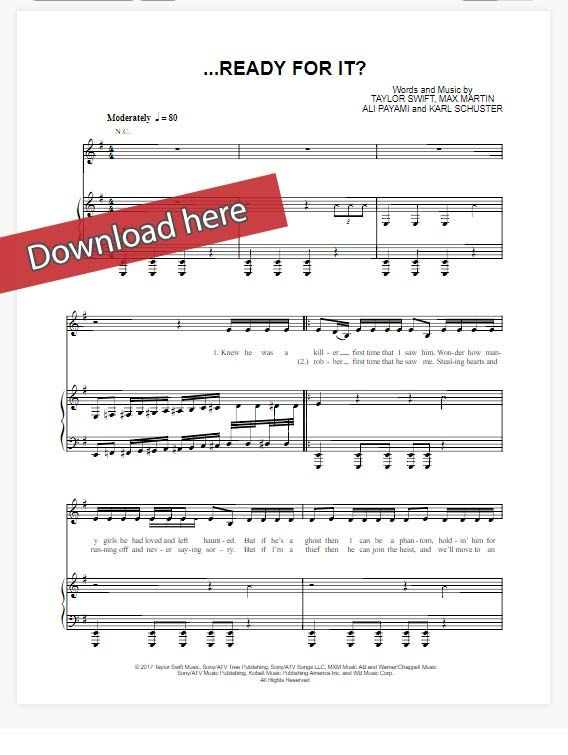 Taylor Swift Ready For It Sheet Music, Piano Notes, Chords | Sheet ...
