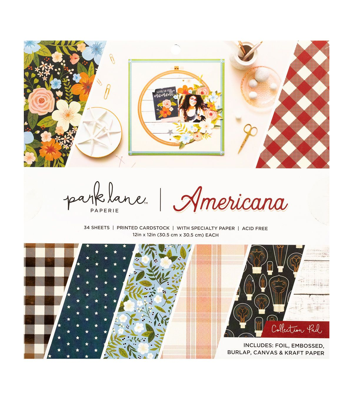 Flea Market American Crafts Cardstock 12 x 12 Paper Pattern Simple Antique