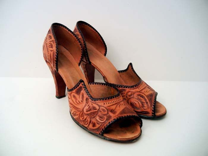 a45af69e1ba73 Amazing Vintage 50's Hand Tooled Leather Mexican High Heel Shoes ...