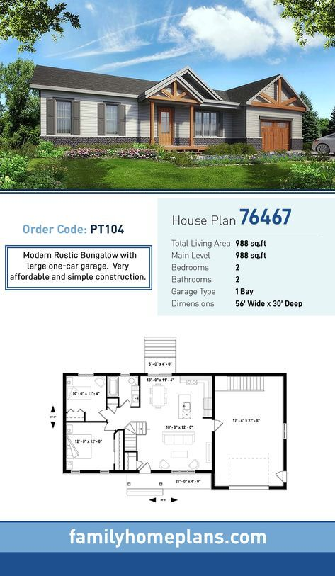 Bungalow house plan total living area sq ft bedrooms and bathrooms modern rustic with large one car garage also rh pinterest