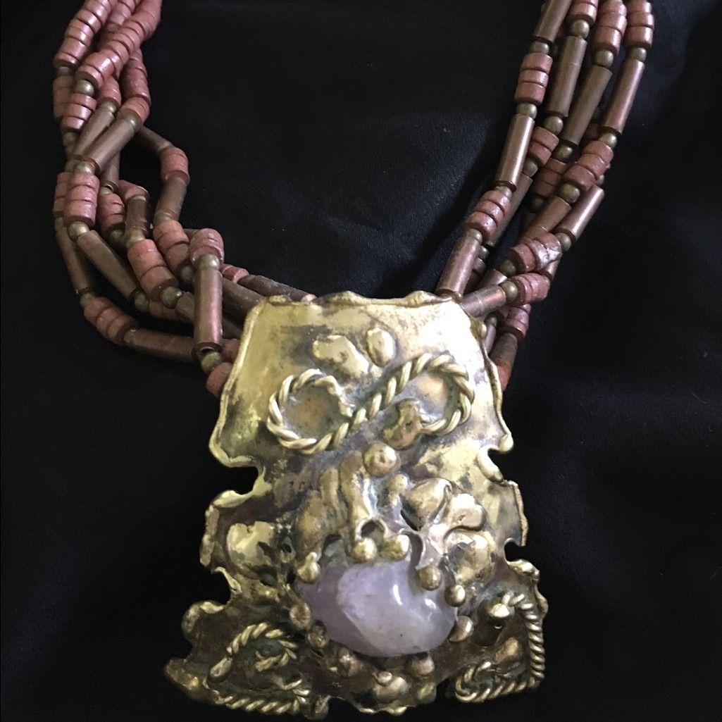 Artist Prong Set Lavender Jasper Cabochon Necklace